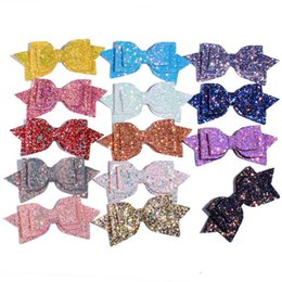 Discount messy girl 60PCS 13CM 5'' Boutique Glitter Synthetic Leather Bow Clip Messy Sequin Bow Knot Various Color Girl Headwear H
