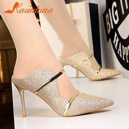 64b74da20 Dress Karinluna New Fashion Pointed Toe Thin High Heels Slip On Bling  Hollow Shoes Woman Casual Party Sexy Summer Pumps Big Size 34-40