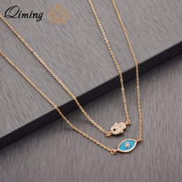 Discount hand blue eye pendant - QIMING Blue Green Evil Eye Necklace Layered Tibetan Jewelry Accessories CZ Crystal Hamsa Hand Pendant Delicate Necklace