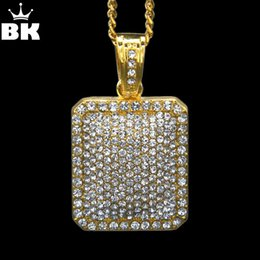 """Necklaces Pendants Australia - Mens Full Iced Out Rhinestone Gold Silver Color Square Dog Tag Pendant 5mm*30''  3mm*24"""" Cuban Chain Hip Hop Blingbling Necklace Y19050802"""