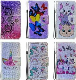 Discount play cards - Unicorn Leather Wallet Case For Huawei P30 Pro P20 Lite Y6 Y7 2019 Moto G7 Plus Play Power Laser Bling Fashoin Flower Bu