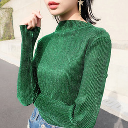 t shirt woman korea Australia - harajuku South Korea Autumn Spring Long Sleeve Show Thin Shiny Glitter Bling Joker Pleated Metal Base T Shirt Woman