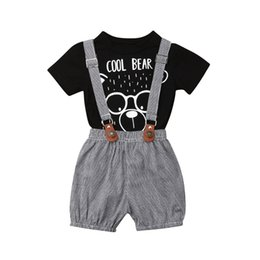 wholesale baby bibs kids UK - New Toddler Baby Girl Clothes Cartoon Bear T Shirt Tops+Plaid Bib Pants Overall Suspender Pants 2Pcs Baby Clothing Kids Outfits