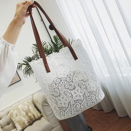 Ladies Lace Handbags Australia - 2 Bags Hollow Lace Bag 2019 Summer Fashion New Handbag Women's Designer Big Tote Bag High Quality Elegant Portable Shoulder Bags
