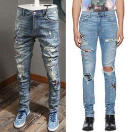 Wholesale size 38 slim fit jeans resale online – designer Size Men s Vintage Rip Jeans Patch Skinny Fit Appliqued Paint Splattered Art Distressed Stretch Denim Cotton Jeans