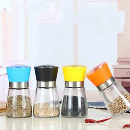 $enCountryForm.capitalKeyWord Australia - High Quality Best selling Glass Pepper set Salt Herb Spice Hand Grinder Abrader Mill manual pepper mill Kitchen Tool 6 color choose Hot