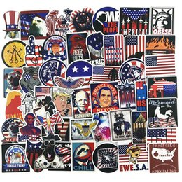 Usa Mirror Australia - Wholesale 100Pcs-Pack Stickers American President USA flag Vinyl Waterproof Stickers Car Luggage Travel Case Skateboard Laptop decals