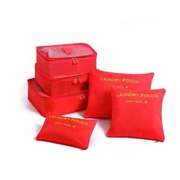 Types Set Clothes Australia - 2019 DHL 6 Pcs Travel Storage Bag Set For Clothes Tidy Organizer Wardrobe Suitcase Pouch Travel Organizer Bag Case Shoes Packing Cube Bag
