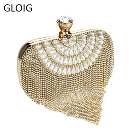 Ladies Rhinestone Handbags Australia - Gloig Tassel Rhinestones Clutch Beading Lady Evening Bags Diamonds Small Purse Chain Shoulder Handbags Wedding Party Evening Bag Y19061301