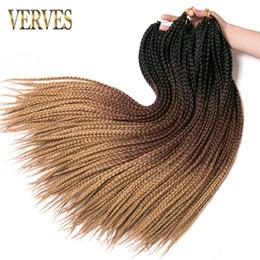 24 Inch Synthetic Braiding Hair Australia - VERVES Crochet braids 24 inch box braid 6piece Ombre Synthetic Braiding Hair extension Kanekalon Fiber Bulk braid