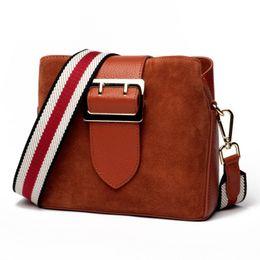 $enCountryForm.capitalKeyWord Australia - Brand Nubuck Leather Women Bags New Double Strap Design Genuine Leather Shoulder Bag Buckets Fashion Small Messenger Bags