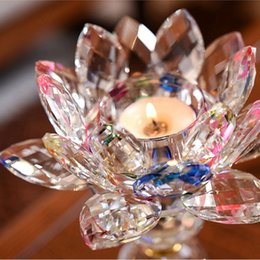 acrylic balls decoration UK - New Lotus Candlestick Decoration Feng Shui Home Decoration Accessories Holder Glass Fashion Candle Holders