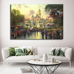pictures park NZ - Theme Parks Sleeping Beauty Castle Thomas Kinkade Comics Paintings on Canvas Modern Art Decorative Wall Pictures Home Decoration