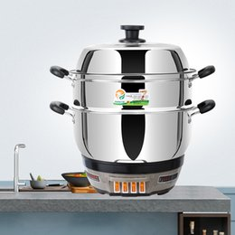 $enCountryForm.capitalKeyWord Australia - Electric Cooker Hot Pot with Lid Stainless Steel Electric Hot Pot ,Boil Dry Protection with Stainless Steel Pot, Steamer Basket MultiPot