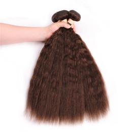 indian chocolate human hair UK - #4 Chocolate Brown Kinky Straight Human Hair Weave Bundles 3Pcs Medium Brown Indian Virgin Hair Weft Extensions Coarse Yaki Hair Weaves
