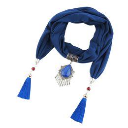 $enCountryForm.capitalKeyWord Australia - Fashionable new tassel pendant lady chiffon hijab scarf jewelry necklace scarf head scarf free shipping