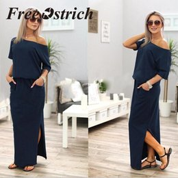 navy blue casual maxi dress Australia - Free Ostrich 2019 Women Summer Long Maxi Boho Evening Party Dress With Pocket Solid Casual Fashion Navy Blue Long Dress For