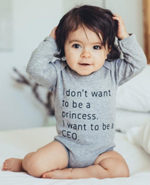 funny baby outfits UK - I Don't Want To Be A Princess I Want To Be A CEO Baby Bodysuit Long Sleeve Cotton Baby Girl Funny Outfits Clothes
