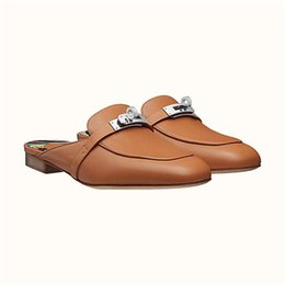$enCountryForm.capitalKeyWord Australia - Women Calfskin Mules Classic Leather Flat slippers, Designer Causal Shoes Slip on Sandals for Fashion Ladies with Box Size 34-42