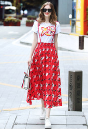 $enCountryForm.capitalKeyWord Australia - Cartoon T-shirt+sling Skirt Short Sleeve Women Two Piece Set Fashion Casual Ladies Sets Summer Printed Embroidery Tees Suspender Skirt Sets