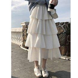 $enCountryForm.capitalKeyWord NZ - Love2019 White Half-body And Woman High Waist Pleated Pattern Chic Fairy Skirt Can Generation Hair