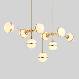 $enCountryForm.capitalKeyWord Australia - American Loft RH Retro Metal Round Led E27 Chandelier Lustre Luminaria for Living Room Glass Shades Gold LED Chandelier Lighting