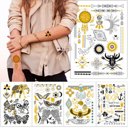 $enCountryForm.capitalKeyWord Australia - New Fashion Metal Gold Tattoo Sticker Boho Henna Flower Wing Elephant Chain Eagle Dreamcatcher Designs Temporary Water Transfer Flash Tattoo