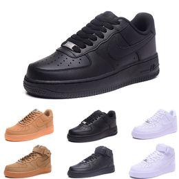 2019 Nike Air Force oen 1  Yeni yüksek erkekler kadınlar düşük siyah beyaz buğday bir ayakkabı mesh one mens bayan tasarımcı spor koşu sneakers ayakkabı