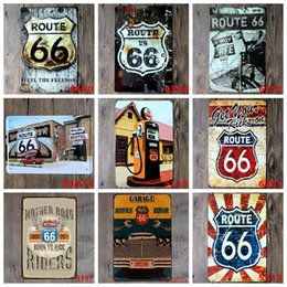 route 66 decor 2019 - Metal Tin Signs Vintage Route 66 Plate Plaque Poster Iron Plates Wall Stickers Bar Club Wall Garage Home Decor 40 Design