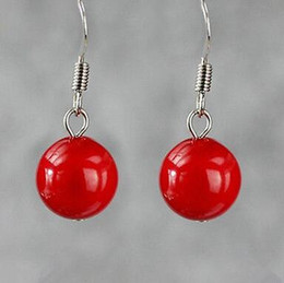 $enCountryForm.capitalKeyWord Australia - Free shipping@ Chic 12mm South Sea Shell Red Coral Round Beads 925 Silver Dangle Earrings 6.10