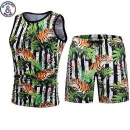 $enCountryForm.capitalKeyWord Australia - Mens Casual Shorts Set Harajuku 3d Plant Tiger Print Tank Tops Shorts Two Piece Set Summer Beach Sleeveless Vest Shorts Men Sets