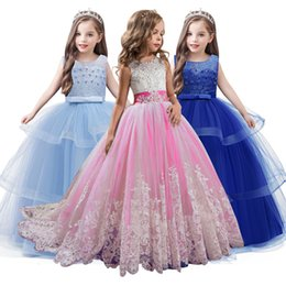 Wholesale metallic lace tulle for sale - Group buy Kid Girl Elegant Weddings Pearl Petals Girl Dress Princess Party Pageant Long Sleeve Lace Tulle for Yrs T191016