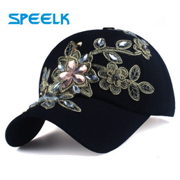 luxury snapback hats Canada - New Diamond-studded Luxury Baseball Caps Women Flower Snapback Cap Female Diamond Sun Visors hats Golden silk Gorras Wholesale