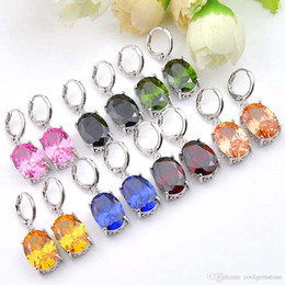 rainbow crystals Australia - Hot Uphot Luckyshine Classic Fashion 2 pieces lot 925 silver plated Simple Design rainbow crystal earrings for lady Wedding party gift