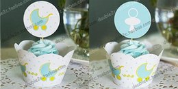 cupcakes baby shower boy Canada - Baby carriage cupcake wrappers baby shower boy decoration birthday party favors for kids PRAM cup cake toppers picks suppliesMaterial
