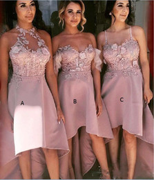 high low wedding dresses halter Australia - three style high low bridesmaid dresses for wedding lace appliques and satin maid of honor gowns halter spaghetti bridesmaid dress