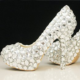 Glitter rhinestone platform hiGh heels silver online shopping - 2019 Arrival Elegant Diamond Wedding Shoes Fashion Beautiful Silver Crystal High Heels Glittering Platform Woman Pumps Banquet Prom Shoes