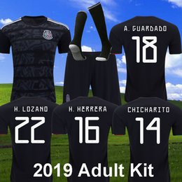 713ad1013a7 Mexico 2019 gold cup Black Kit Soccer Jerseys H LAZANO CHICHARITO football  Uniform G.DOS SANTOS A. GUARDADO Mexico Set Short with Socks