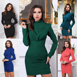 $enCountryForm.capitalKeyWord Australia - 2019 Autumn Bodycon Dress for Women Long Sleeve Pleated Package Hip Dress Pencil Dress Fashion Sexy Dresses