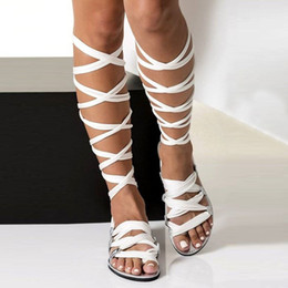$enCountryForm.capitalKeyWord Australia - Vtota Bohemia Style Summer Flats Gladiator Cross Strap Sexy Knee High Woman Boots Flat Casual Beach Sandals For Women Y190704