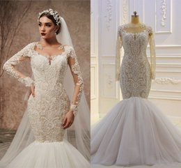 Luxury Lace trumpet mermaid wedding dress online shopping - 100 Real Pictures Vintage Long Sleeves Lace Appliqued Mermaid Wedding Dress Luxury Arabic Saudi Dubai Plus Size Bridal Gown