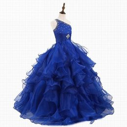 $enCountryForm.capitalKeyWord Australia - Real Photo Lovely Blue Flower Girl Dresses for Weddings Kids Evening Dress Holy Communion Dresses For Girls Pageant Gowns Custom
