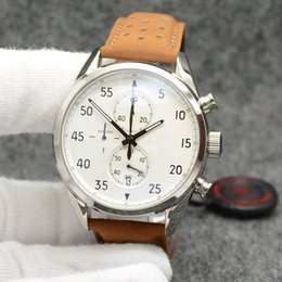 $enCountryForm.capitalKeyWord NZ - Sport Style Outdoor Quartz Chronograph Accurate Mens Watches Watch 44MM White Dial With Brown Leather Band and Arabic Number Hour Markers