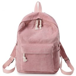Backpack Solid Australia - good quality Casual Corduroy Design School Backpack For Teenage Girls Solid Color Soft Fabric Backpack Striped Rucksack Lady