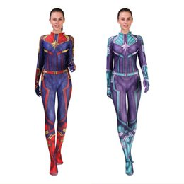 New Style Adult Moive Captain Marvel Halloween Superhero 3D Skin Cosplay  Costume Party Zentai Jumpsuit Sexy Catsuit Bodysuit 9b5052256