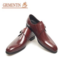 shoe buckles for sale NZ - GRIMENTIN Brand fashion buckle men dress shoes brown genuine leather male business wedding shoes for 2020 new hot sale mens formal shoes