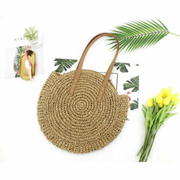pretty weave Australia - New Pretty Women Bag Round Circular Rattan Wicker Straw Woven Beach Bag Lovely Handmade Shoulder Vintage