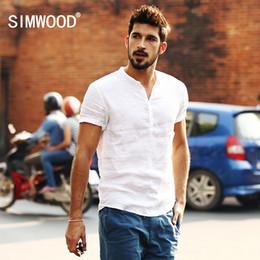 Linen Slim Shirts Australia - Simwood New Arrival Summer Short-sleeved Shirts Men 100% Linen White Solid Color Slim Fit Plus Size Collarless Tops Cs1534 Q190518