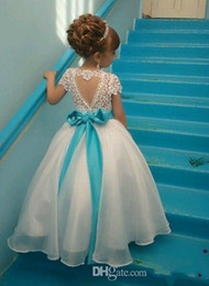 blue sash flower girl dress NZ - Newly Flower Girl's Dresses Jewel Neck Appliques Cap Sleeves Tulle Long Girls Formal Wear Party Gown with Crystals Blue Bow Sash
