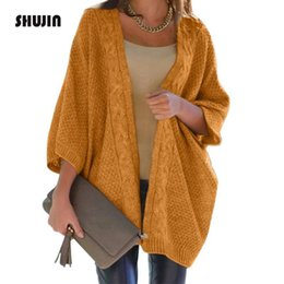 7588726e4b SHUJIN 2018 Autumn Winter Warm Long Cardigans Casual Solid Color Long Sleeve  Loose Ladies Cable Knit Sweater Oversize Coats